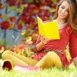 Brunette girl reading a book in the park  — Stok fotoğraf