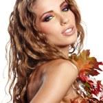 Attractive autumn woman portrait on white background — Stock Photo #33389379