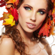Autumn Woman. Beautiful creative makeup — Stock Photo