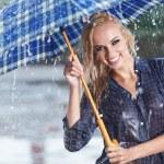 Beautiful sexy woman with blue umbrella on rainy day — Stock Photo #33471881