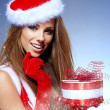 christmas woman with gifts box — Stock Photo #33751351