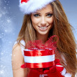 Christmas woman with gifts box — Stock Photo #33751377