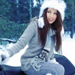 Smiling young womriding snowmobile — Stock Photo #33751393