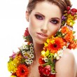 Woman with flower hairstyle — Stockfoto