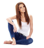 Sexy girl in blue jeans — Stock Photo