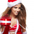 Beautiful sexy girl wearing santa claus clothes — Stock Photo #34587421