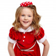 Cute little girl in the santa claus costume — Stock Photo