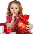 Little girl with christmas gift — Stock Photo