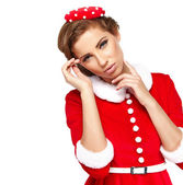 Sweet vintage christmas woman — Stockfoto