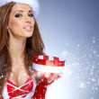 Christmas woman with gifts box  — Foto de Stock