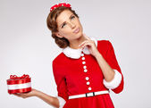 Sweet vintage christmas woman — Stock Photo