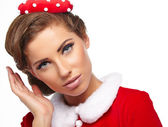 Sweet vintage christmas woman — Stock Photo