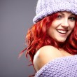 Winter redhead woman portrait — Stock Photo
