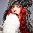 Fur Fashion. Beautiful Girl in Fur Hat. Winter Woman Portrait — Stock Photo