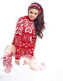 Femme belle hiver sur neige en studio — Zdjęcie stockowe