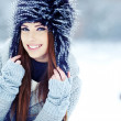 Stock Photo: Young womwinter portrait. Shallow dof.