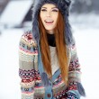 Young woman in winter — Stok fotoğraf