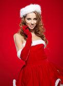 Christmas woman hold christmas gift. — Stock Photo