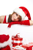 Woman in Santa Claus clothes — Stock Photo