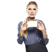Blond woman showing blank credit card. — Stock Photo