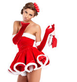 Sexy girl wearing santa claus clothes — Stok fotoğraf