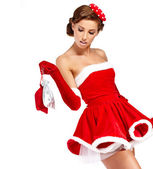 Sexy girl wearing santa claus clothes — Zdjęcie stockowe
