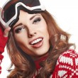 Female skier wearing ski glasses — Stock Photo