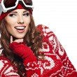 Woman with ski goggles — Stock Photo