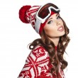 Stock Photo: Female skier wearing ski glasses