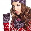 Beautiful woman in warm clothing — Stockfoto