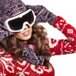 Young girl snowboarding — Stock Photo