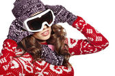 Young girl snowboarding — Foto Stock