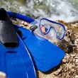 Stock Photo: Mask and flippers on beach
