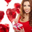 Woman holding red heart — Stock Photo #38071297