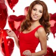 Woman holding red heart — Stock Photo #38071317