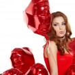 Woman holding red heart — Stock Photo #38071325