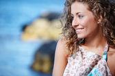 Mulher na praia — Fotografia Stock