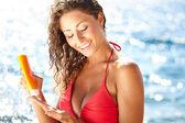 Sunscreen woman — Stock Photo
