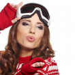 Stock Photo: Woman with ski goggles
