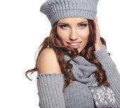 Winter woman in warm clothing — Foto de Stock