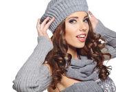 Winter-Frau in warme Kleidung — Stockfoto