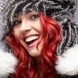 Stock Photo: Red hair woman in warm clothing
