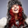 Stock Photo: Red hair womin warm clothing