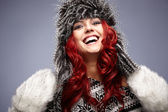 Red hair woman in warm clothing — 图库照片