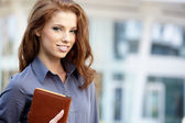 Happy woman or student — Stock Photo