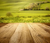Wood textured backgrounds on the tuscany landscape — Stock Photo