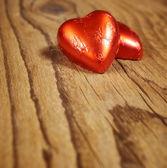 Delicious chocolate hearts — Stock Photo