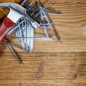 Tools on old wood table — Foto Stock