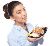 吃寿司的女人 — 图库照片