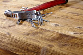 Hammer and nails on old wood table — Foto de Stock